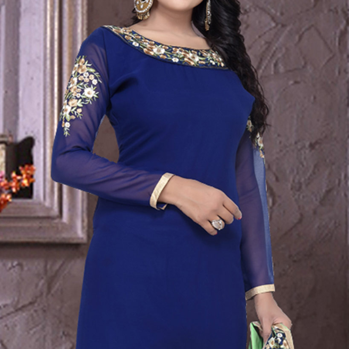 Blue Embrodiered Work Churidar Suit