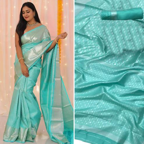 Majesty Sky Blue Colored Festive Wear Woven Banarasi Silk Saree