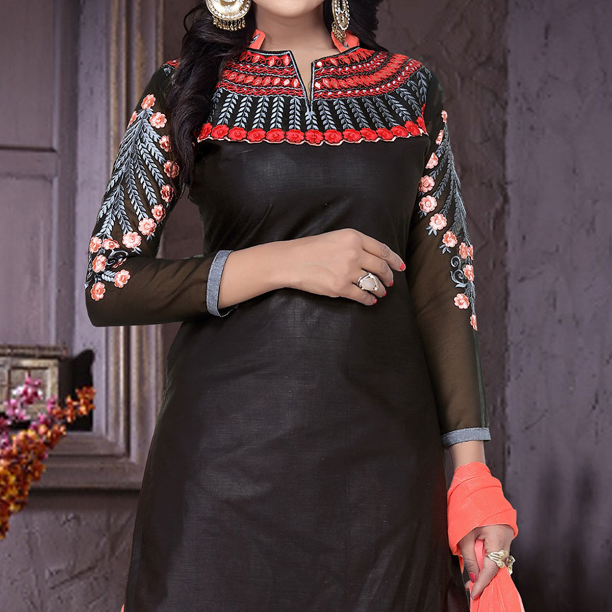 Black - Orange Patiala Suit