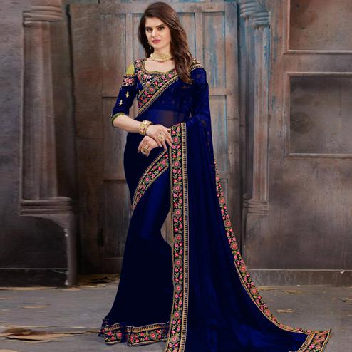 Impressive Blue Colored Party Wear Floral Embroidered Georgette Saree