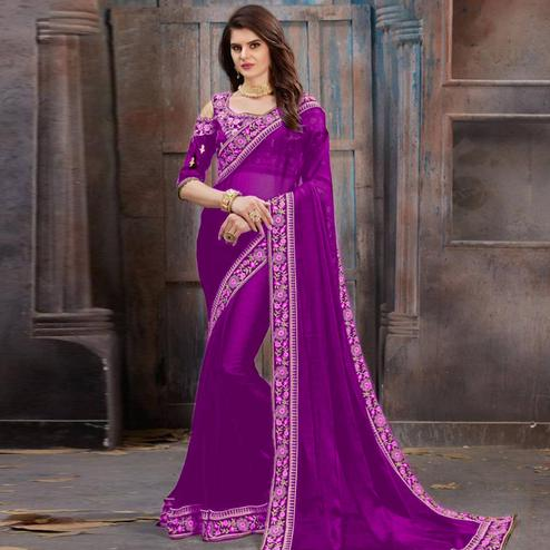 Gleaming Wine Colored Party Wear Floral Embroidered Georgette Saree