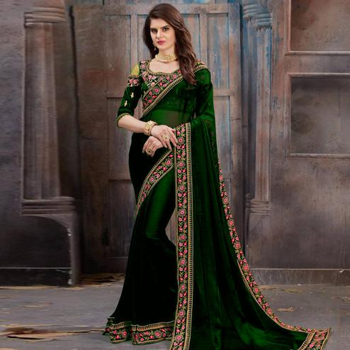 Mesmeric Green Colored Party Wear Floral Embroidered Georgette Saree