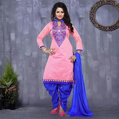 Pink - Blue Embroidered Patiala Suit