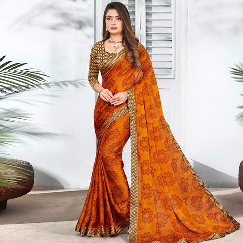 Opulent Mustard Yellow Colored Partywear Printed Chiffon Saree