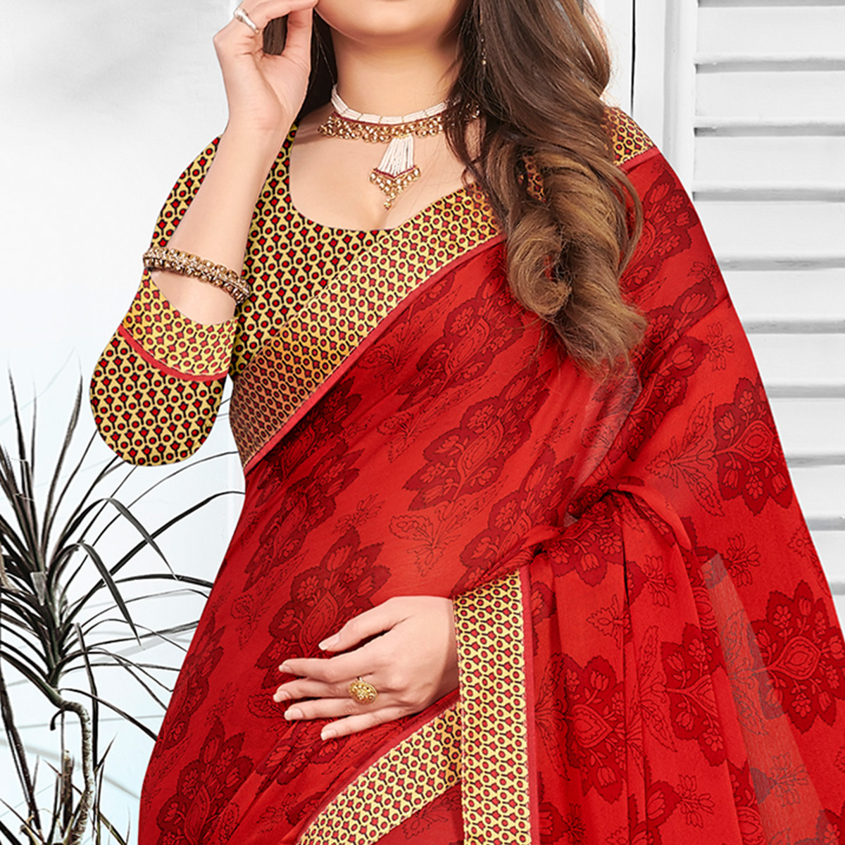 Energetic Red Colored Partywear Printed Chiffon Saree