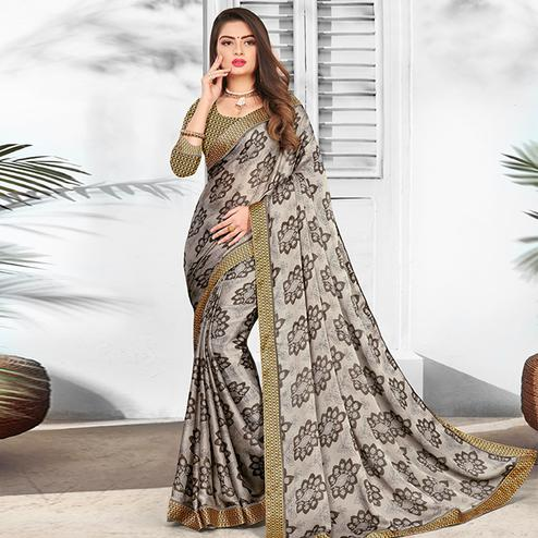 Glowing Grey Colored Partywear Printed Chiffon Saree