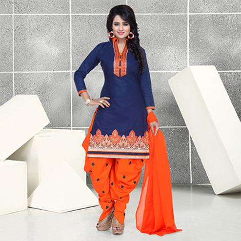 Blue Pure Cotton Patiala Suit