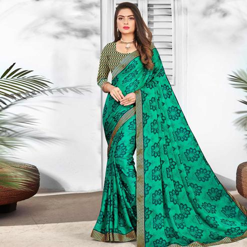 Exceptional Turquoise Green Colored Partywear Printed Chiffon Saree