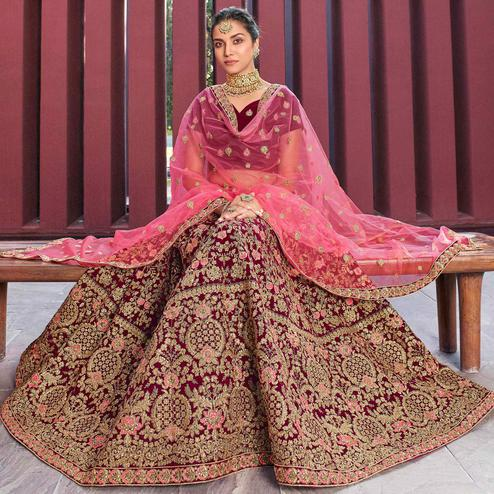 Arresting Maroon Colored Party Wear Embroidered Velvet Lehenga Choli