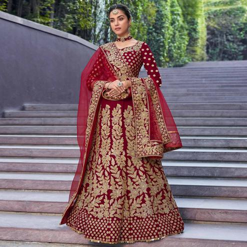 Desirable Maroon Colored Party Wear Embroidered Velvet Lehenga Choli
