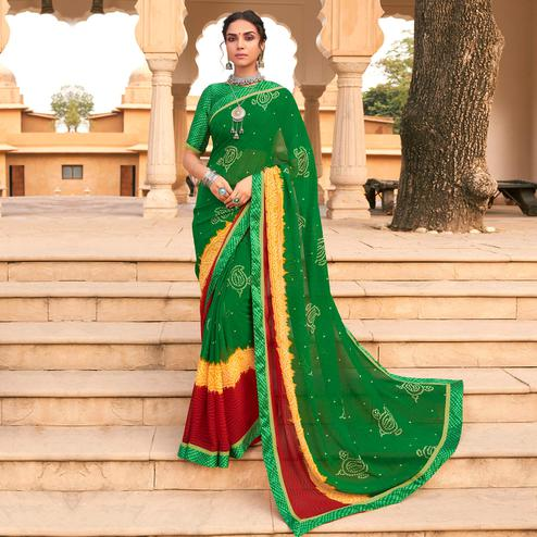 Attractive Green Colored Casual Wear Bandhani Printed Georgette Saree