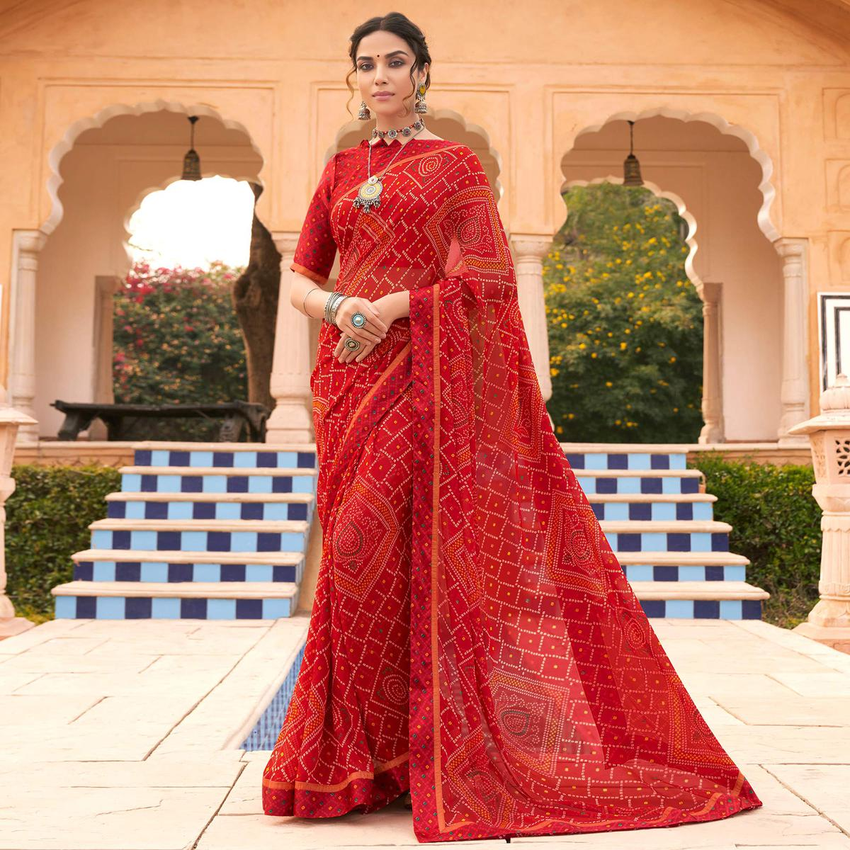 Graceful Red Colored Casual Wear Bandhani Printed Georgette Saree