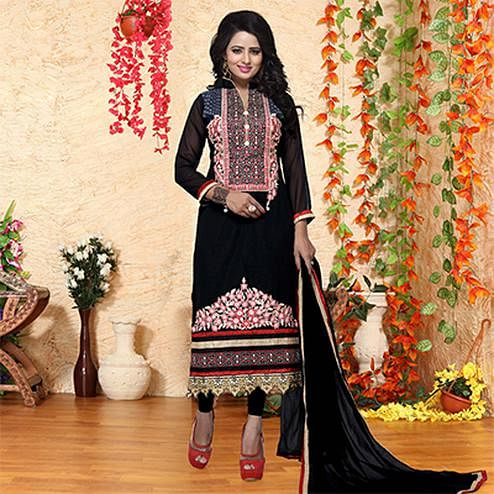 Black Embroidered Work Salwar Suit