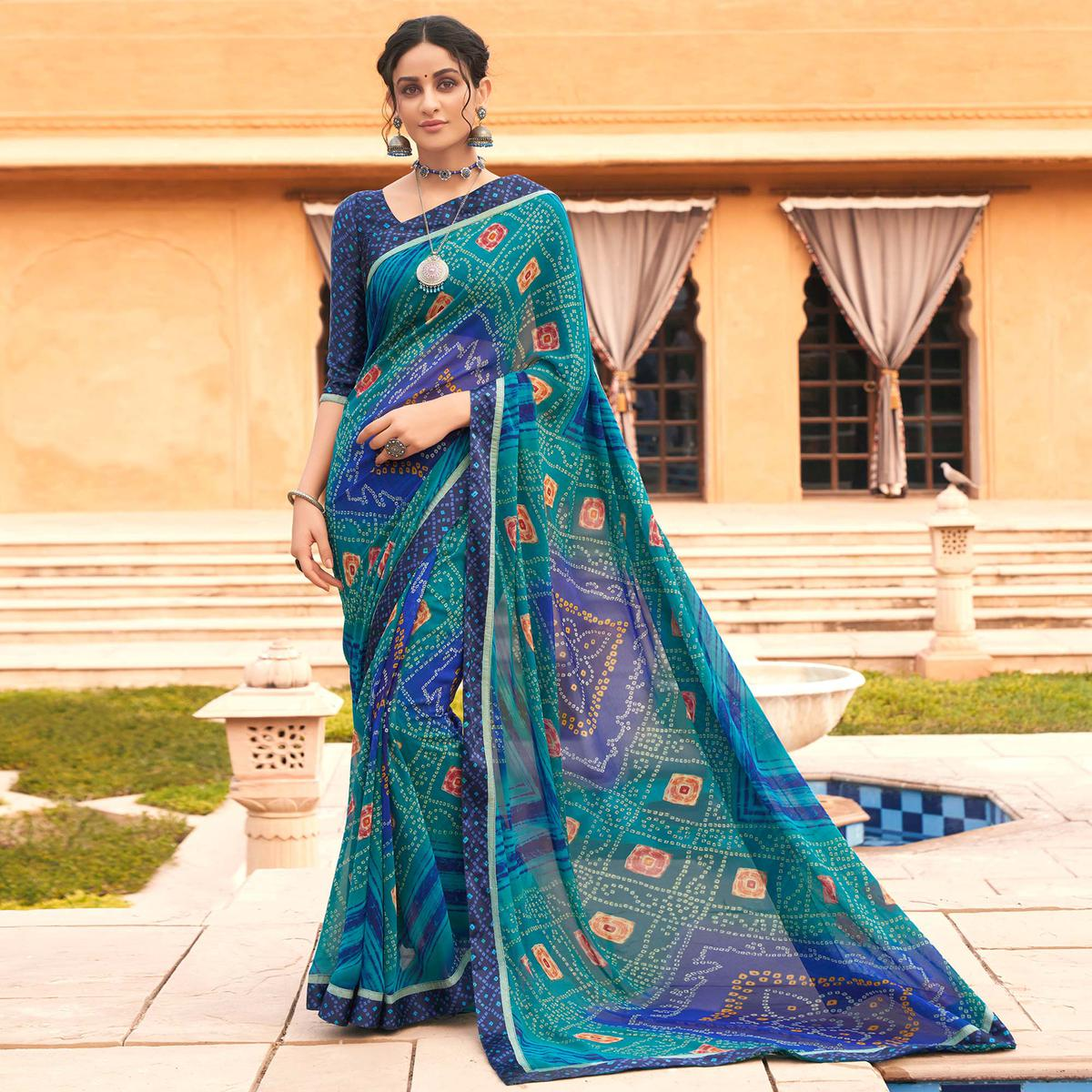 Blooming Blue Colored Casual Wear Bandhani Printed Georgette Saree