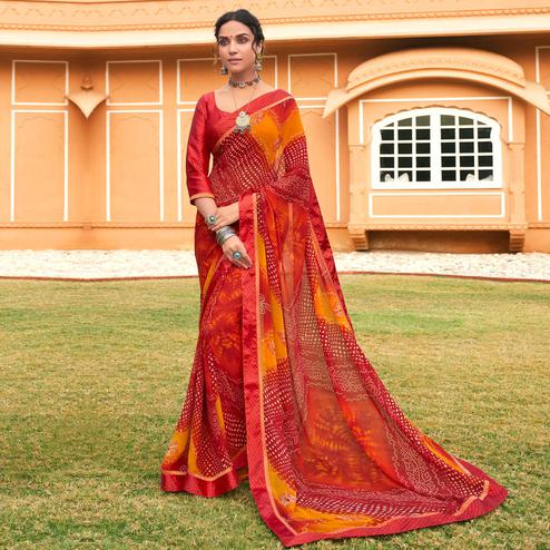 Charming Red Colored Casual Wear Bandhani Printed Georgette Saree