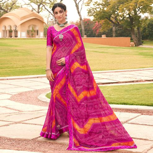 Jazzy Purple Colored Casual Wear Bandhani Printed Georgette Saree