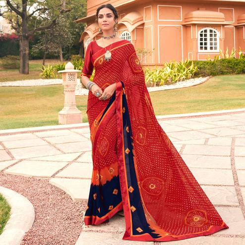 Delightful Red Colored Casual Wear Bandhani Printed Georgette Saree