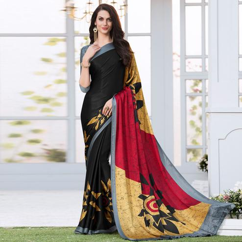 Lovely Black Colored Casual Wear Printed Satin Silk Saree
