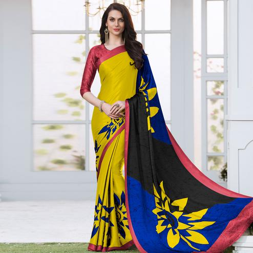 Majesty Yellow Colored Casual Wear Printed Satin Silk Saree