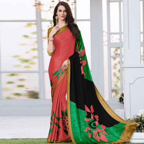 Impressive Peach Colored Casual Wear Printed Satin Silk Saree