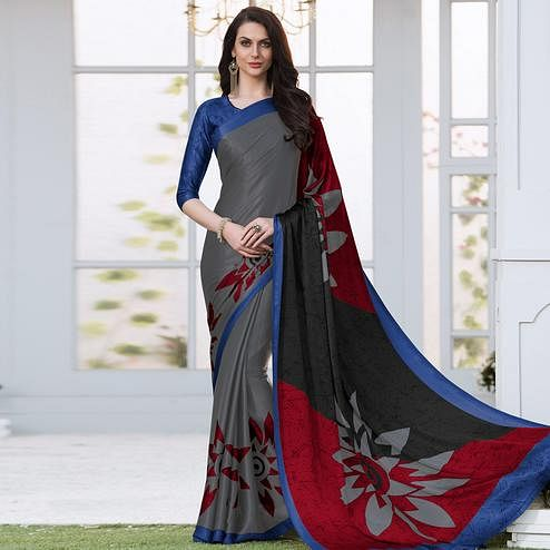 Elegant Grey Colored Casual Wear Printed Satin Silk Saree