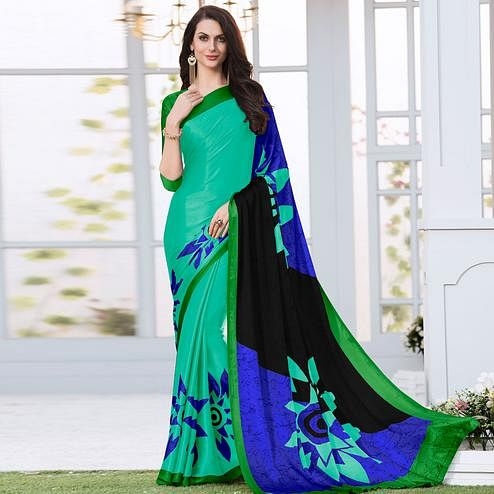Radiant Blue Colored Casual Wear Printed Satin Silk Saree