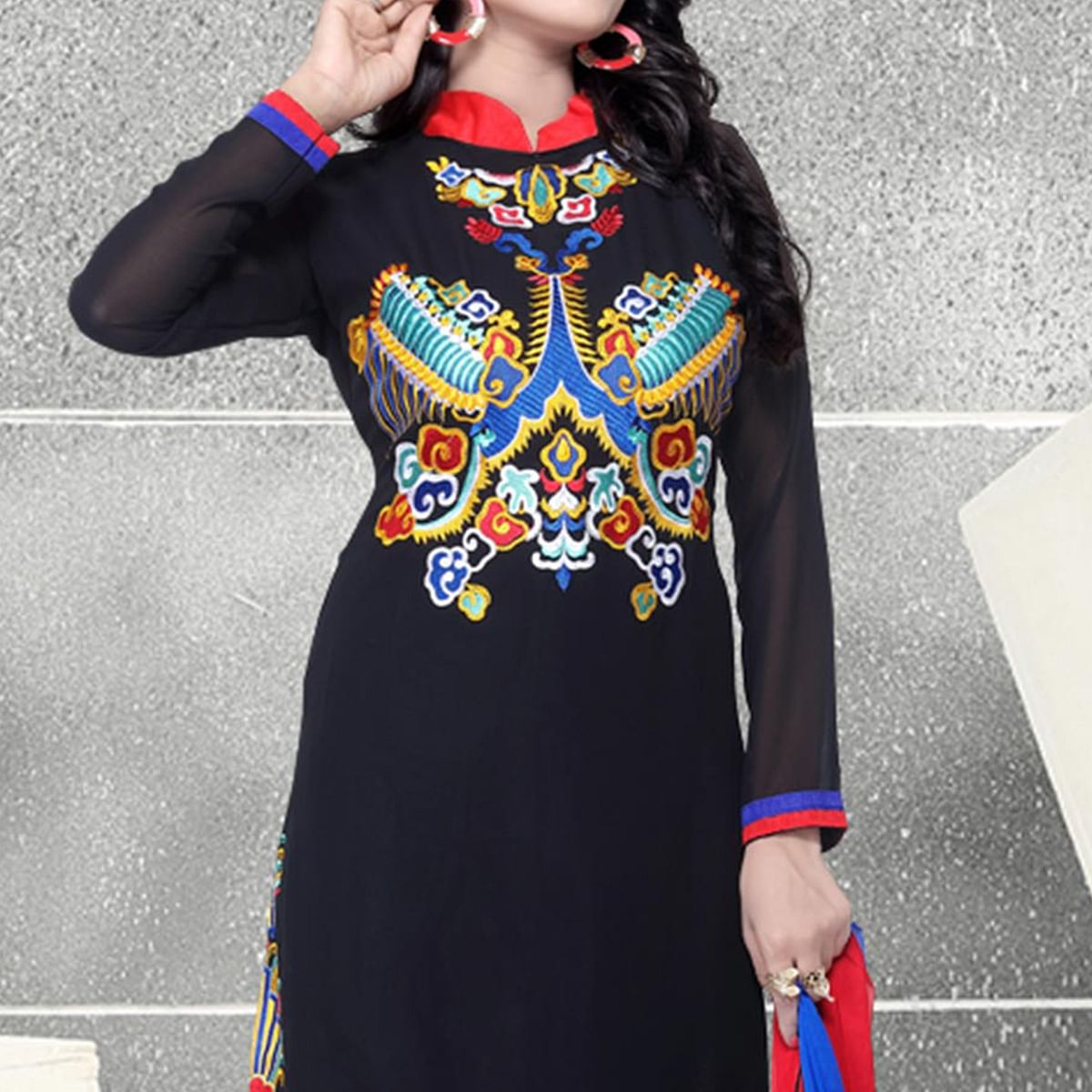 High Neck Embroidered Work Salwar Suit
