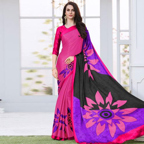 Pleasant Pink Colored Casual Wear Printed Satin Silk Saree