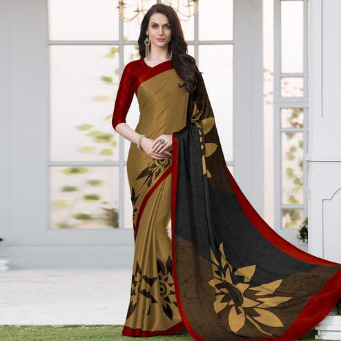 Opulent Light Brown Colored Casual Wear Printed Satin Silk Saree