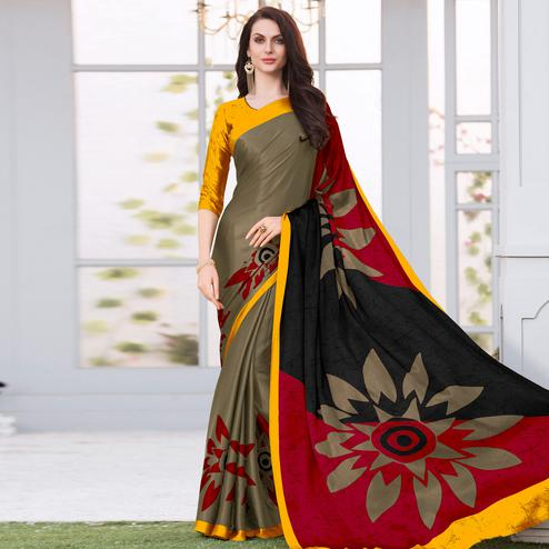 Groovy Coffee Brown Colored Casual Wear Printed Satin Silk Saree