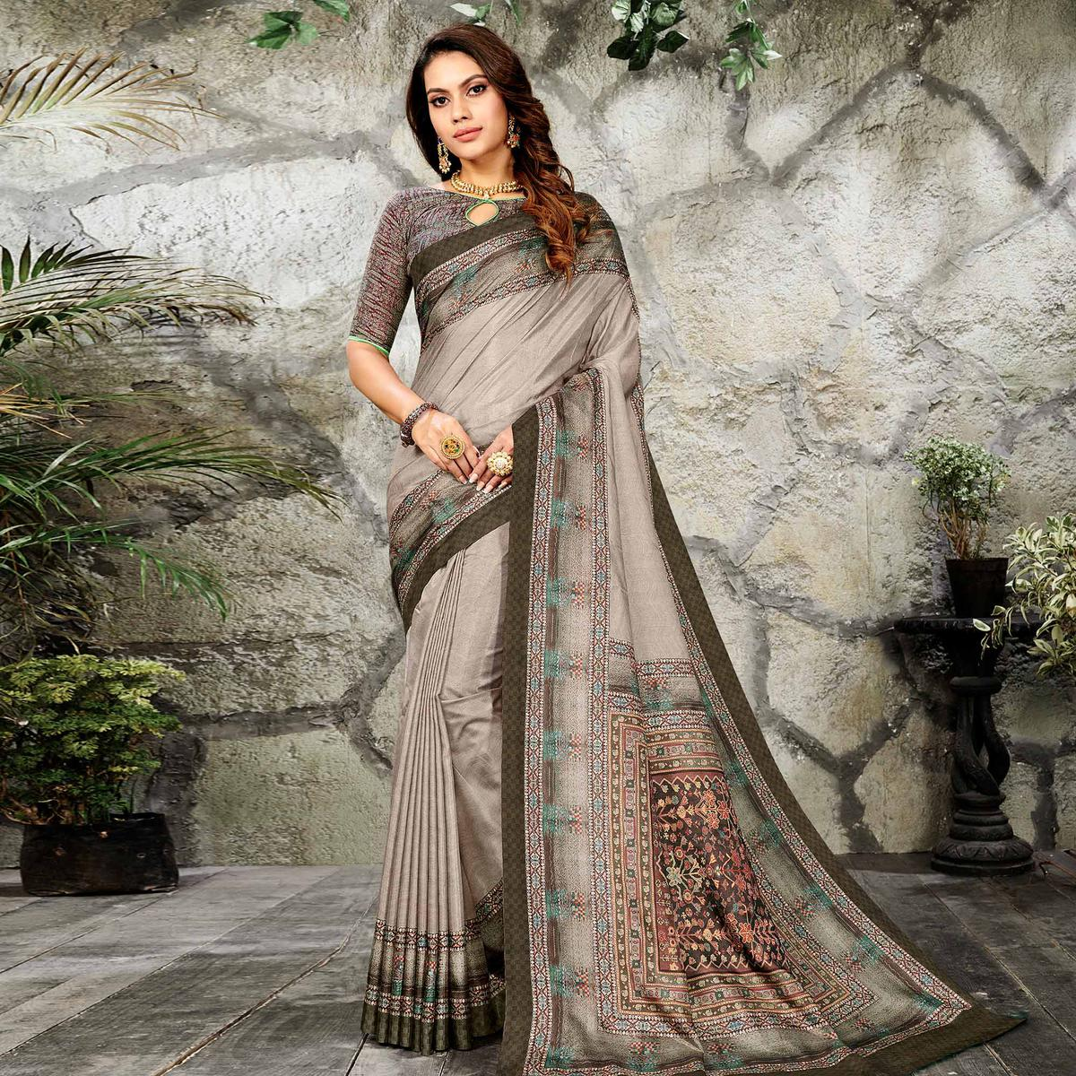 Glorious Grey Colored Casual Wear Printed Art Silk Saree