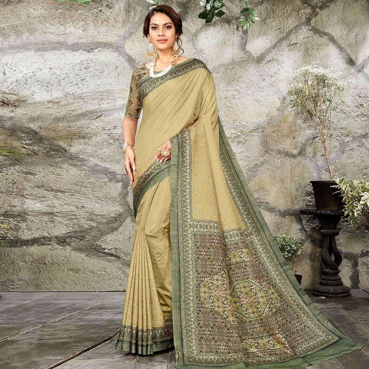Charming Light Olive Green Colored Casual Wear Printed Art Silk Saree