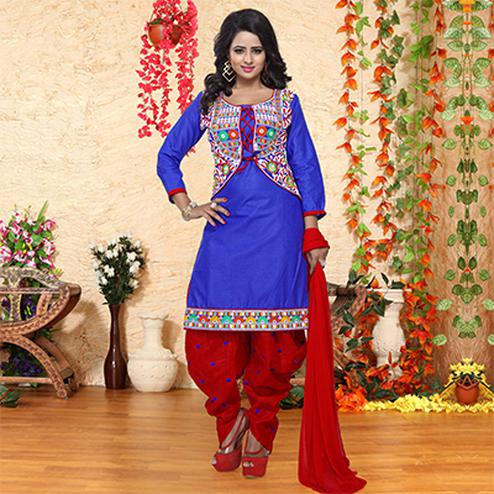Blue - Red Embroidered Patiala Suit