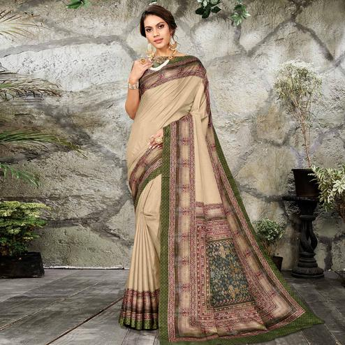 Engrossing Beige Colored Casual Wear Printed Art Silk Saree