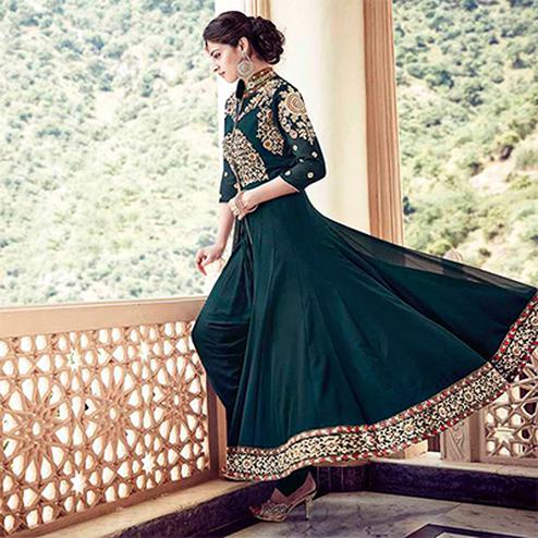 Rama Green Faux Georgette Designer Suit