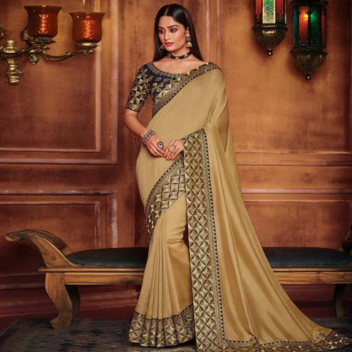 Blissful Beige Colored Party Wear Embroidered Art Silk Saree
