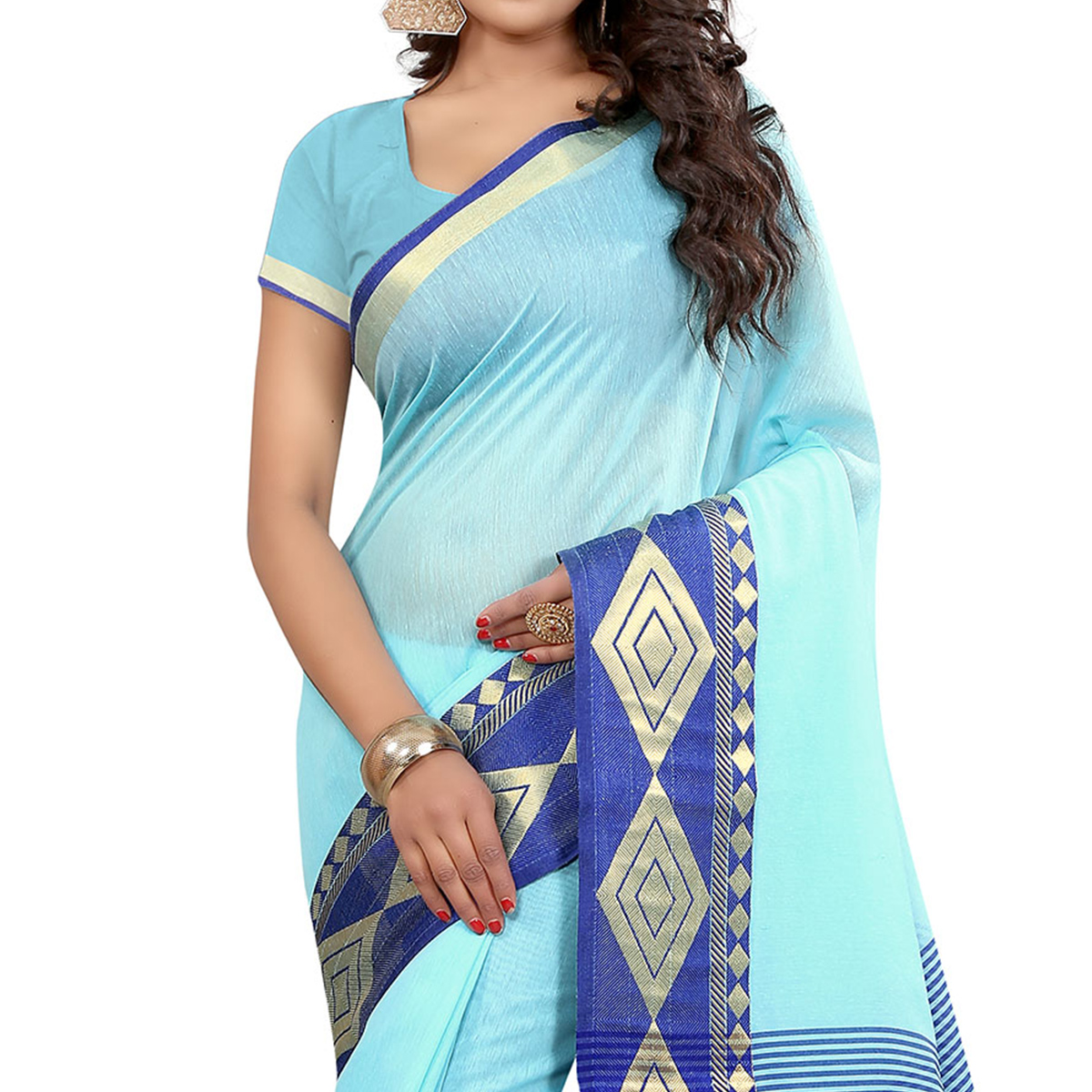 Blue Festive Wear Woven Saree
