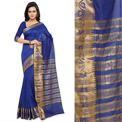 Blue Jacquard Border Cotton Silk Saree