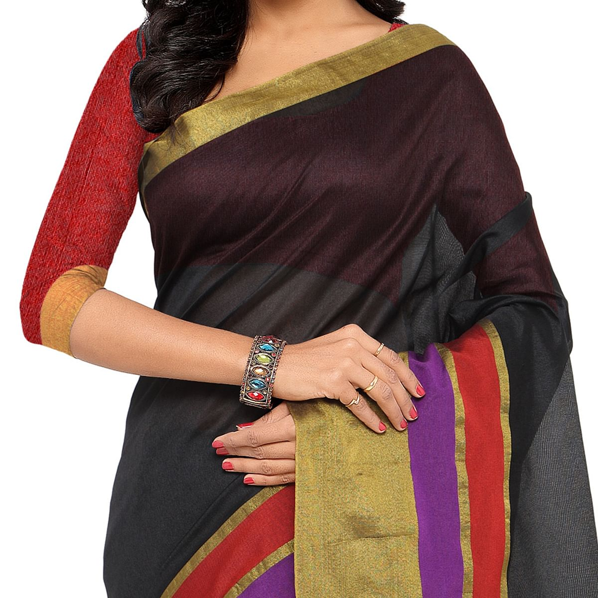 Black Chanderi Cotton Silk Saree