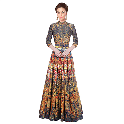 Green - Yellow Digital Printed Stitched Gown