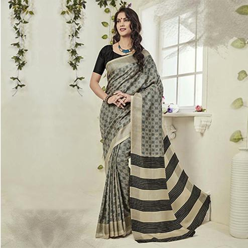 Grey - Black Art Silk Printed Saree