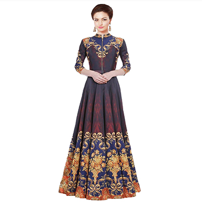 Multi Color Twill Silk Printed Gown with Front Zip