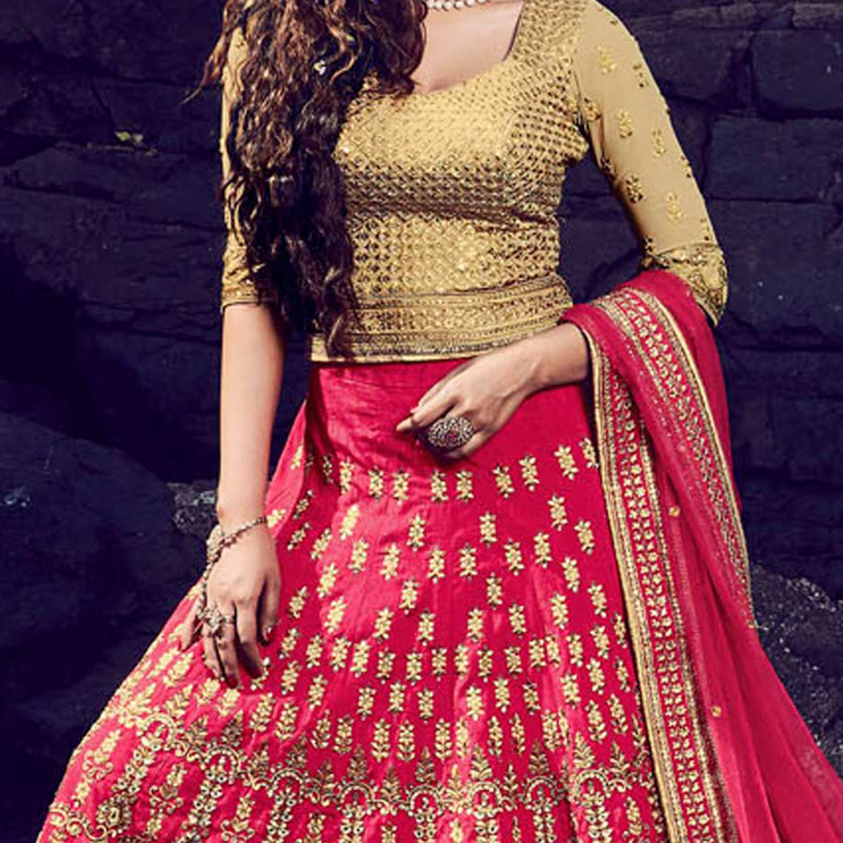 Pink - Beige Wedding Lehenga Choli
