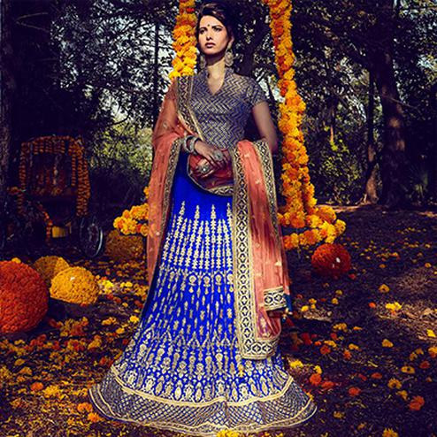 Blue - Peach Bhagalpuri Silk Lehenga Choli