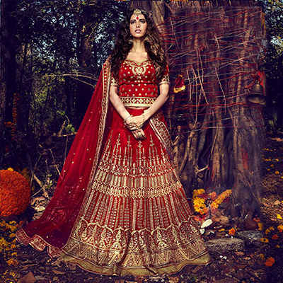 Red Bhagalpuri Wedding Lehenga Choli