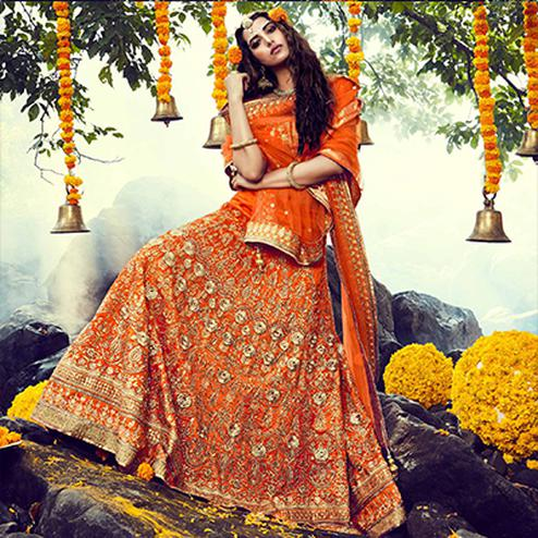 Orange Bhagalpuri Lehenga Choli
