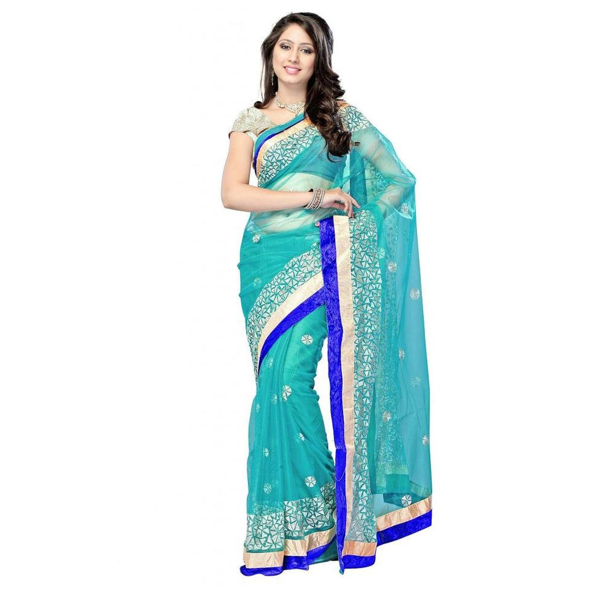 Sky Blue Multi Work Net Saree