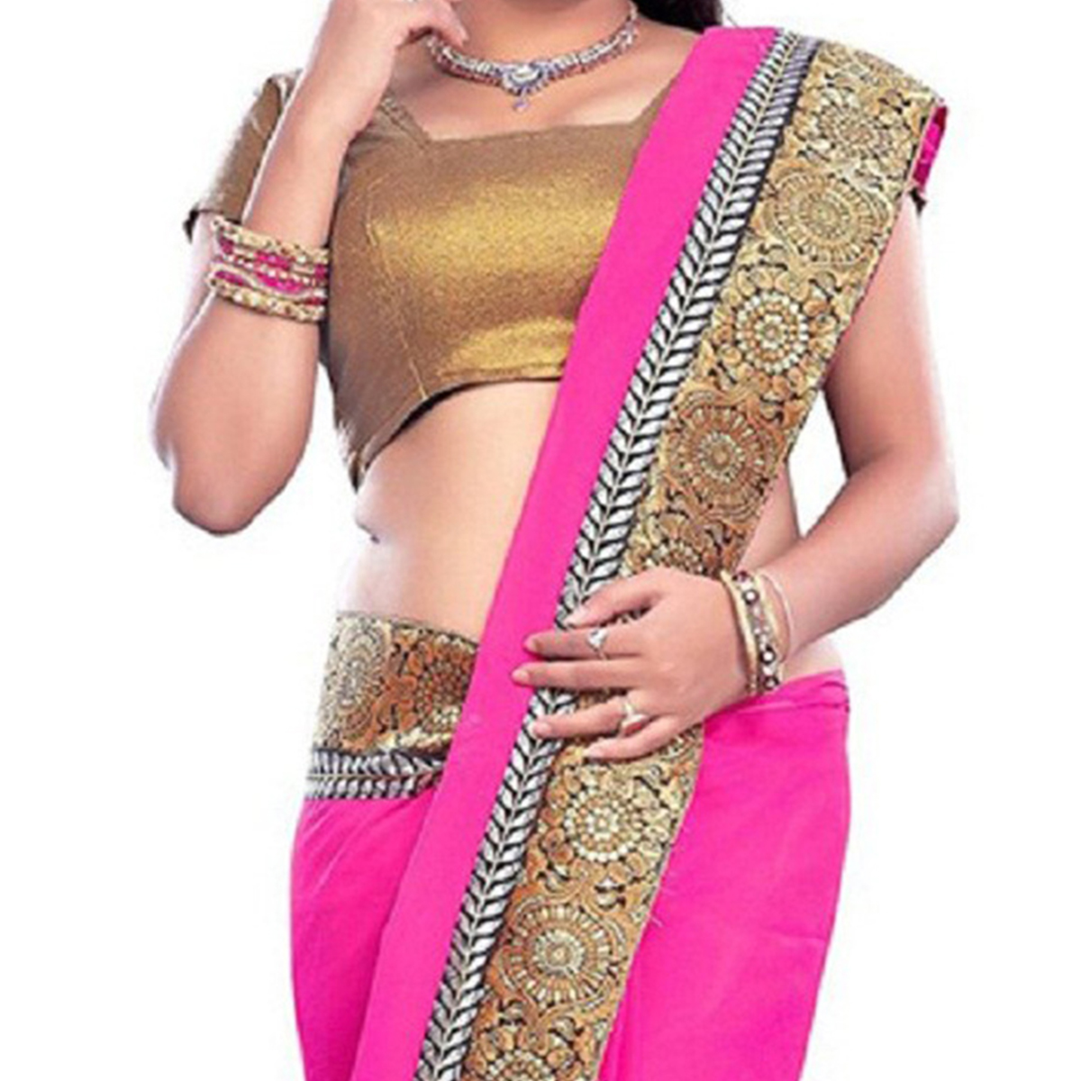 Pink Lace Border Work Georgette Saree
