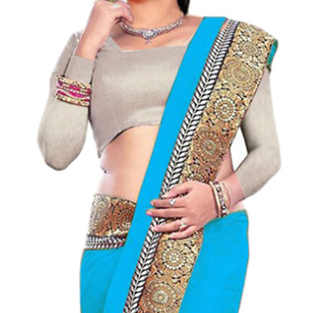 Blue Lace Border Work Saree