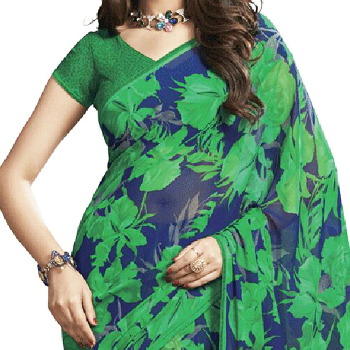 Navy Blue Floral Printed Georgette Saree